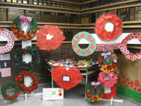 Front foyer at ZHPPS displays all the wreaths made by the various classes for 2013 Remembrance Day Service.  Photo by Shirley McCall Hanlon